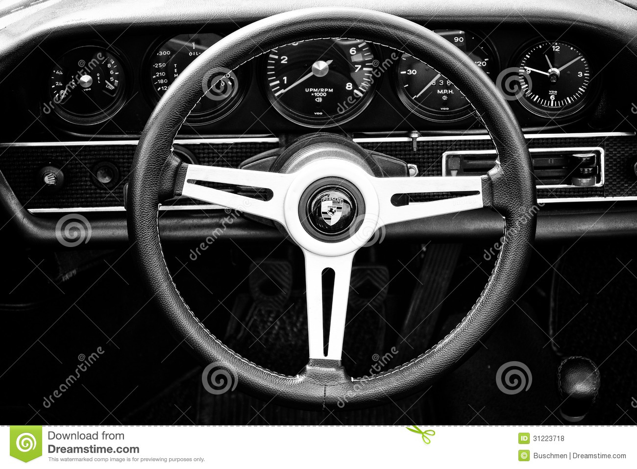 Vintage Car Design Wallpaper Cab Porsche 911 Targa Black And White Editorial Stock