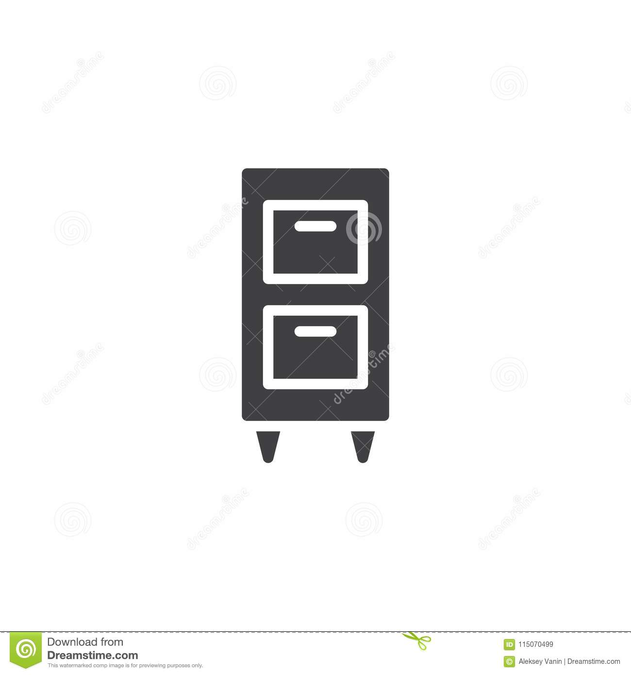 Filing Cabinet Icon Flat Cabinet Vector Icon Stock Vector Illustration Of Single 115070499
