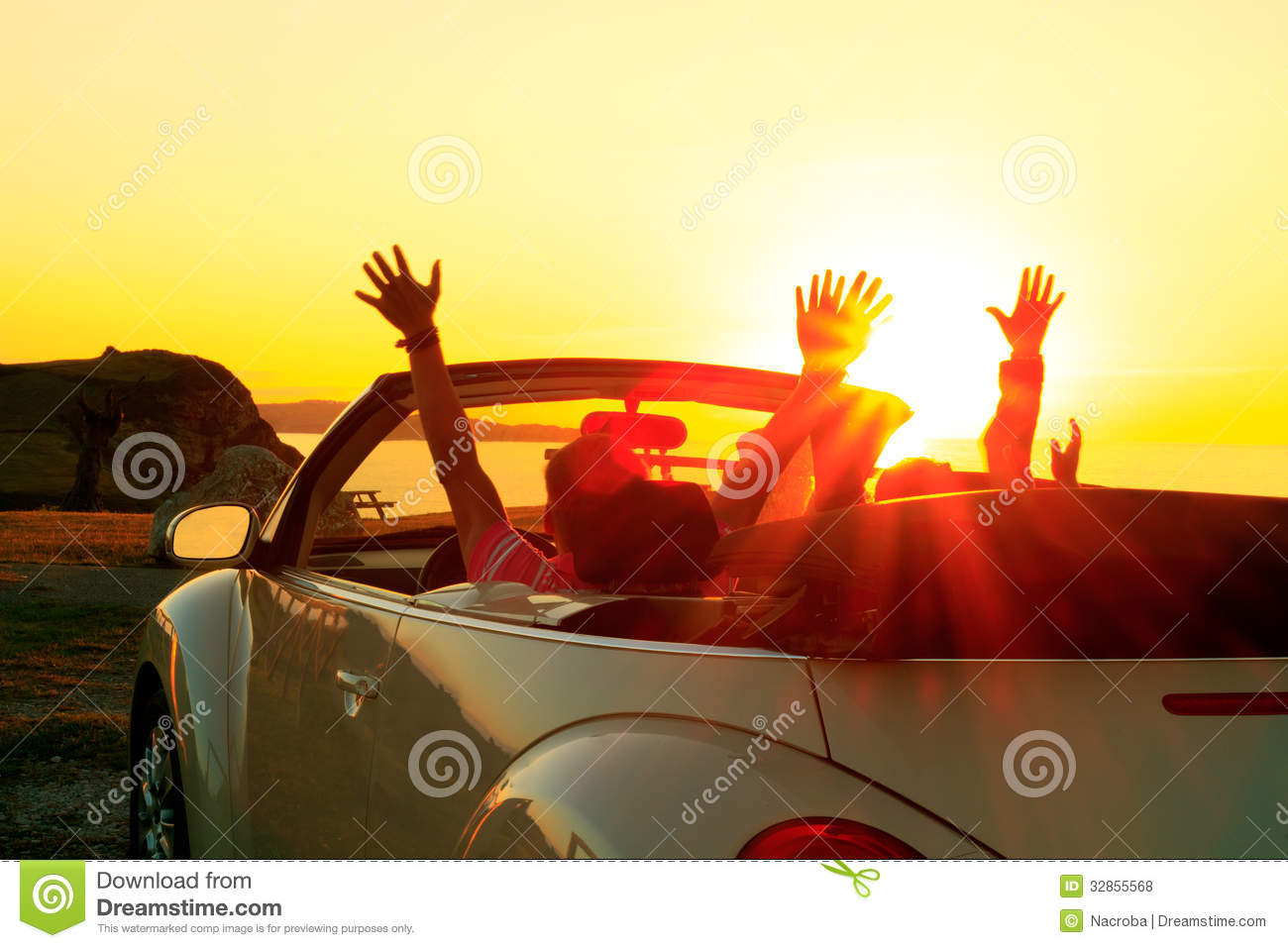 Girl Couple Wallpaper Cabriolet Sunset Royalty Free Stock Photos Image 32855568