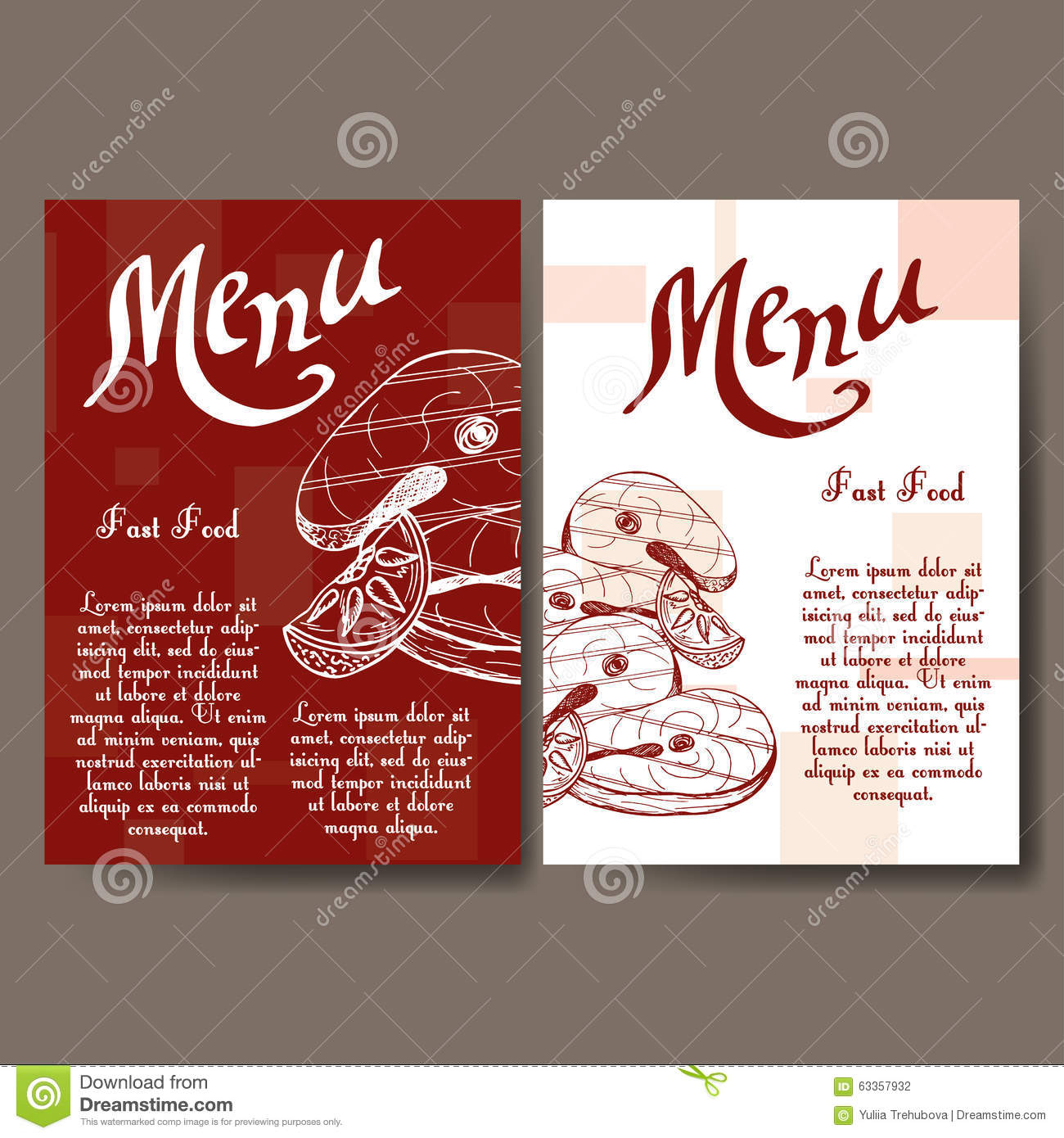 Decoration Fast Food Cafe Menu With Hand Drawn Design Fast Food Restaurant