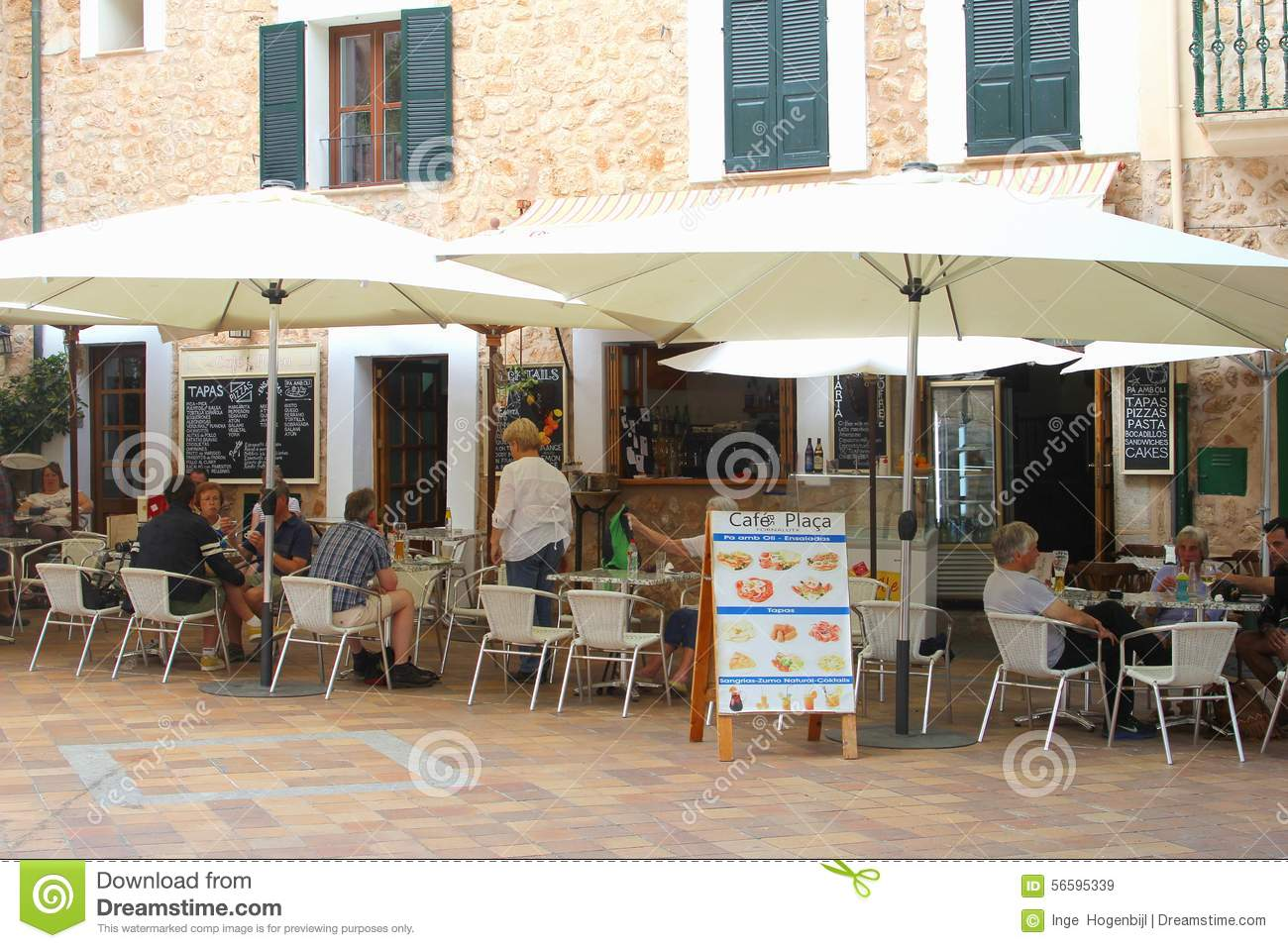 Cuisine Cosy Cosy Cafe Terrace In Fornalutx Majorca Editorial Stock Image