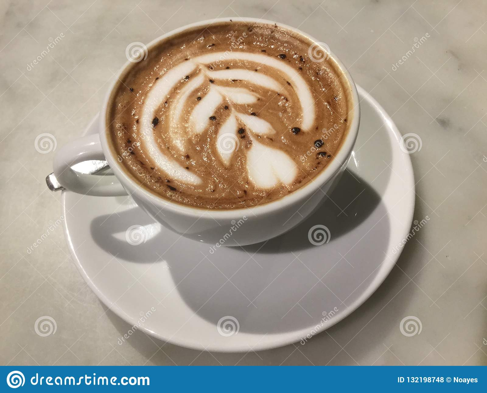 Caffe Latte Mocaccono Mocha Chocolate Cafe Latte Art Close Up Stock Photo