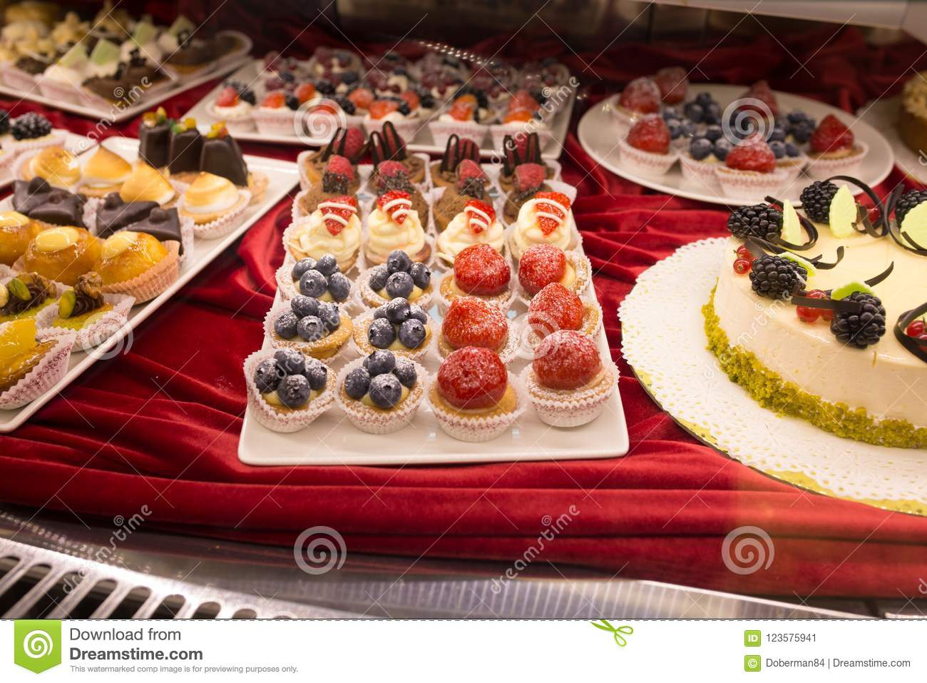 Paris Bar Canapé Different Colorful Tasty Beautiful Cakes On A Show Window In