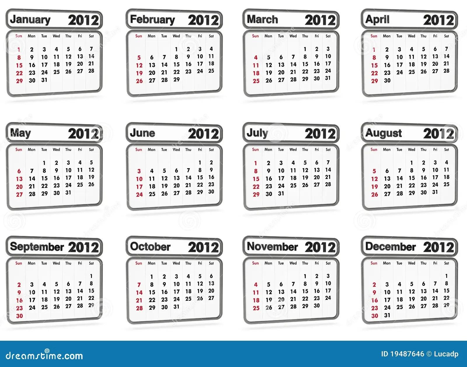 Free Calendar Print September 2012 Year 2012 Calendar Time And Date Calendar 2012 All Months Royalty Free Stock Image