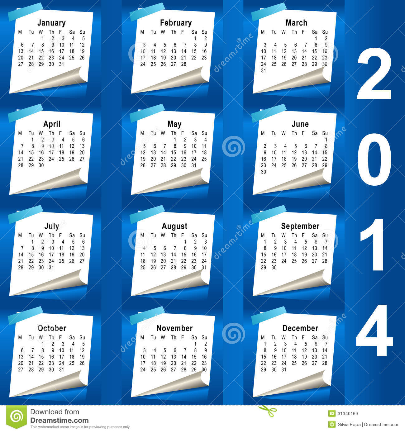 Month Calendar Vector Get Week Of Month And Year Using Java Calendar Java 2014 Calendar Design Week Starts With Monday Stock