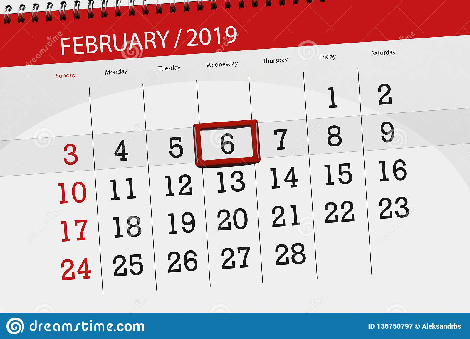 Wednesday 6 February 2019 Calendar Planner For The Month February 2019 Deadline Day 6
