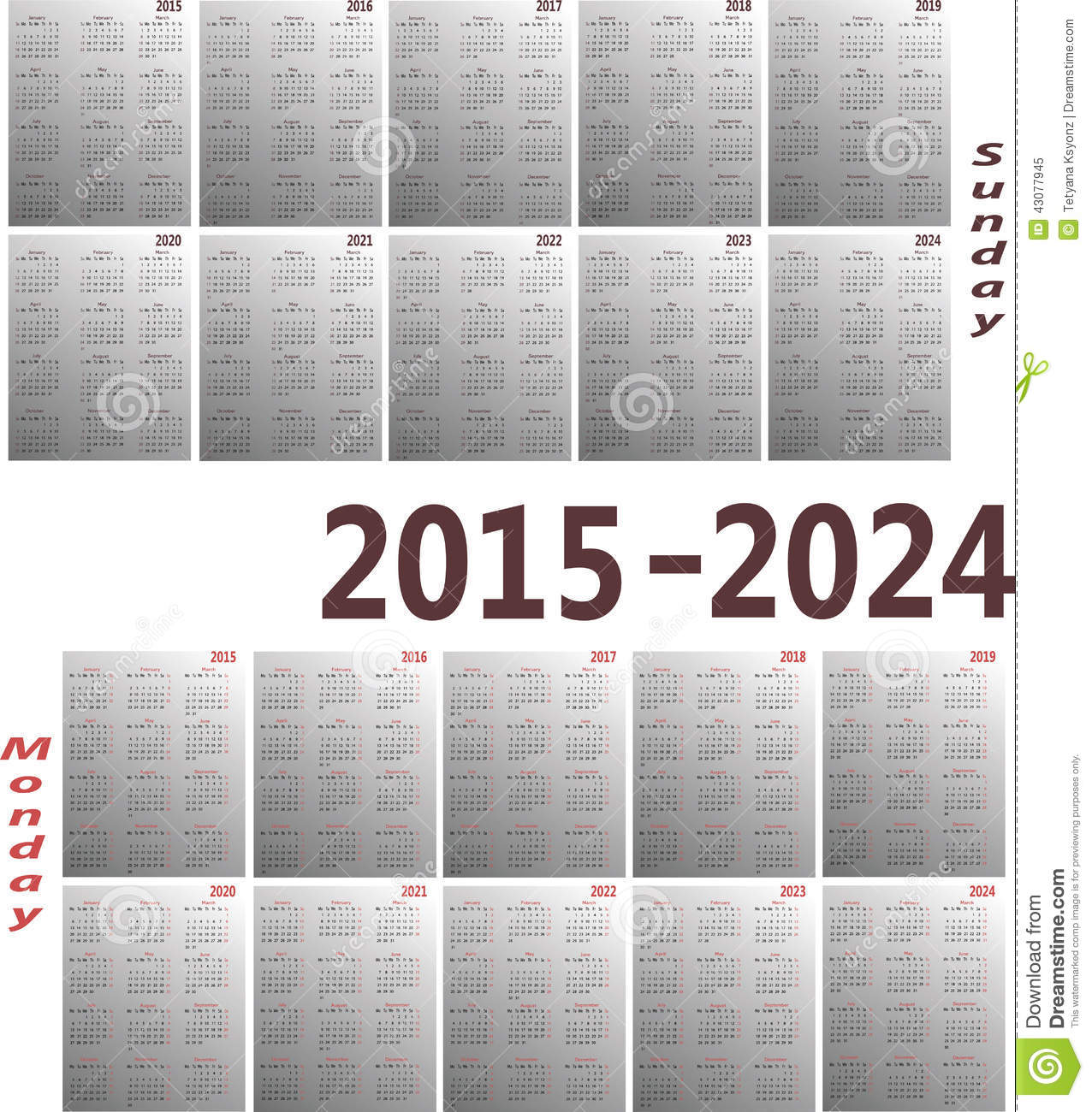 2015 Monthly Calendar With Holidays Printable Year 2015 Calendar Time And Date Calendar 2015 2024 Stock Vector Image 43077945