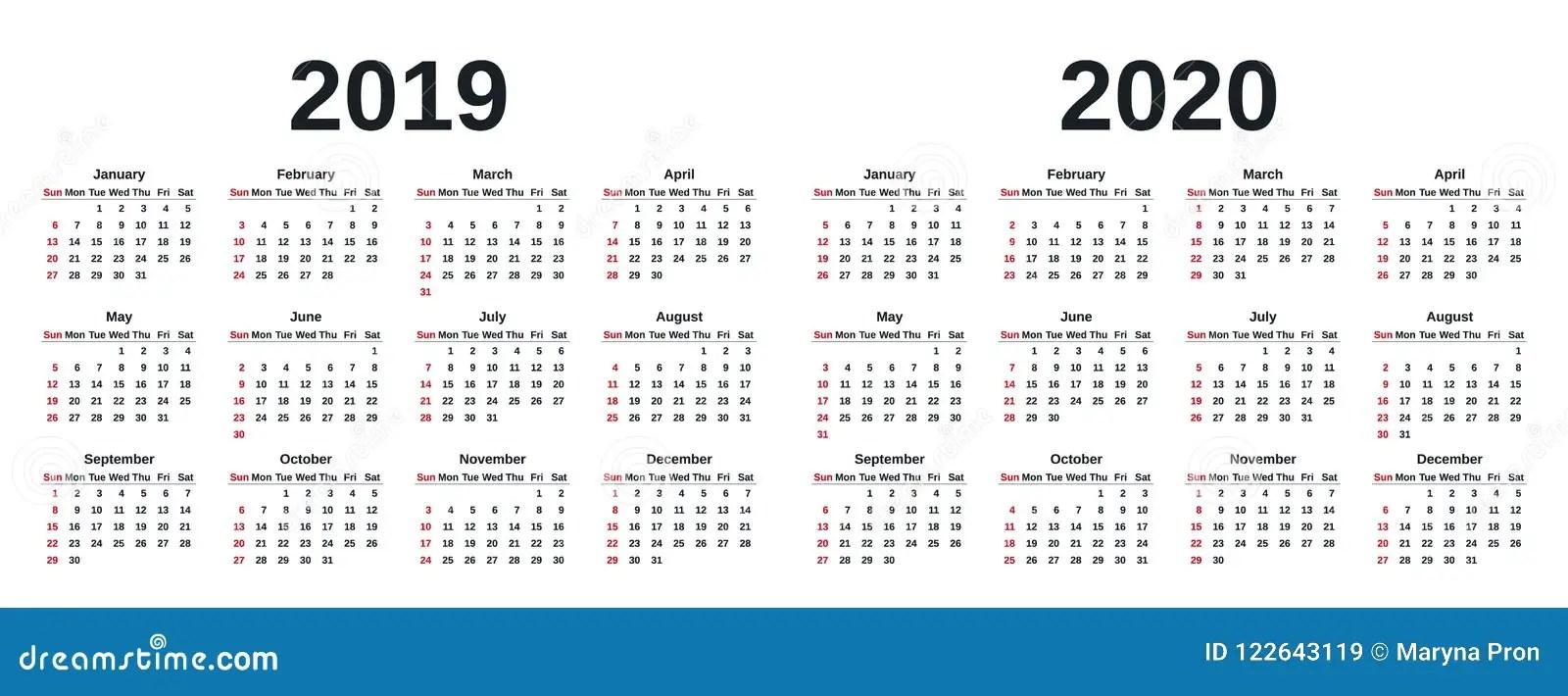 2019 Calendar Year Vector Illustration Template Planner Stock