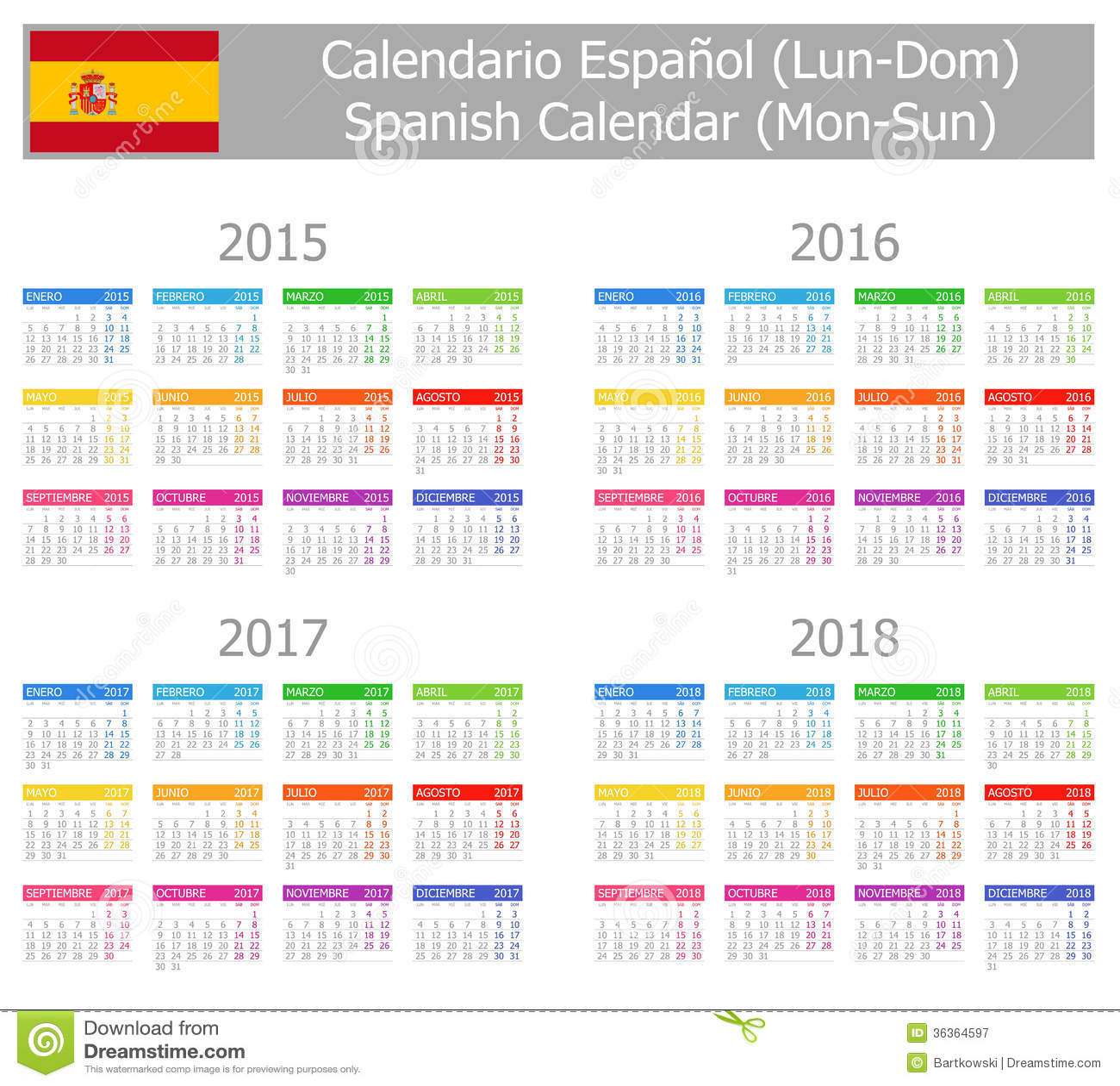Httpearthcalendarphpcountrysearchphp Calendario Espa241;ol 2015 2018 Del Tipo 1 Lunes Sun