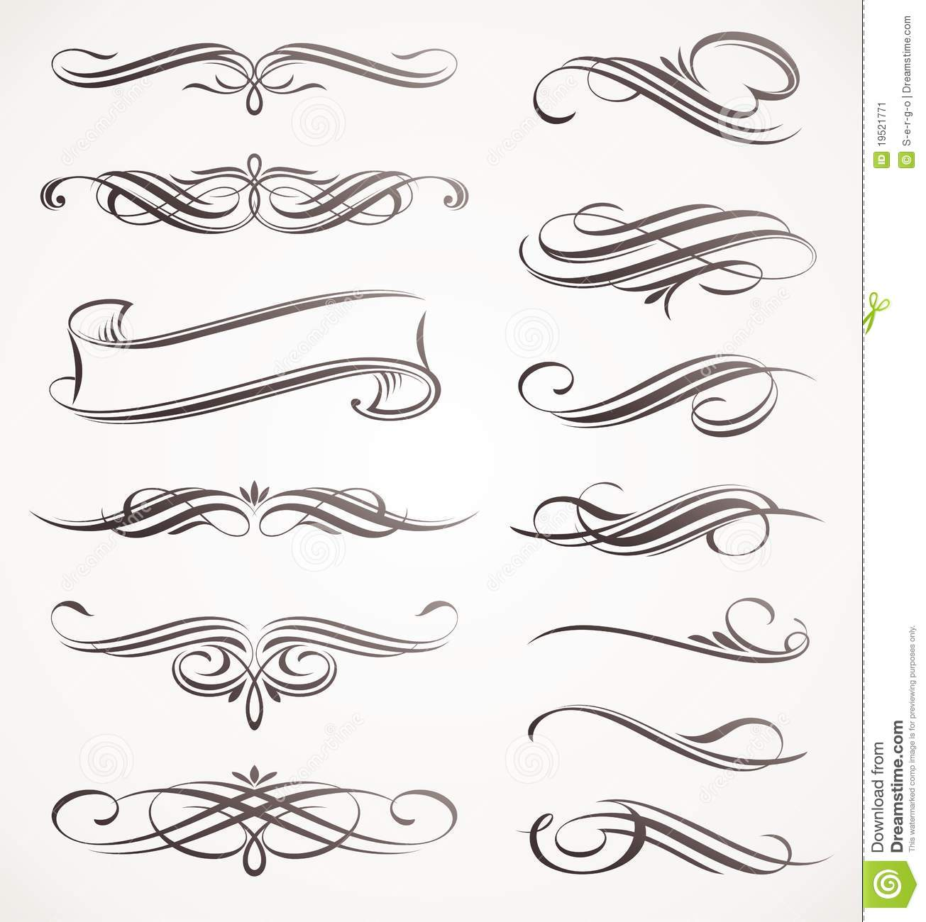 Accent Designs Calligraphic Design Elements Stock Image Image 19521771