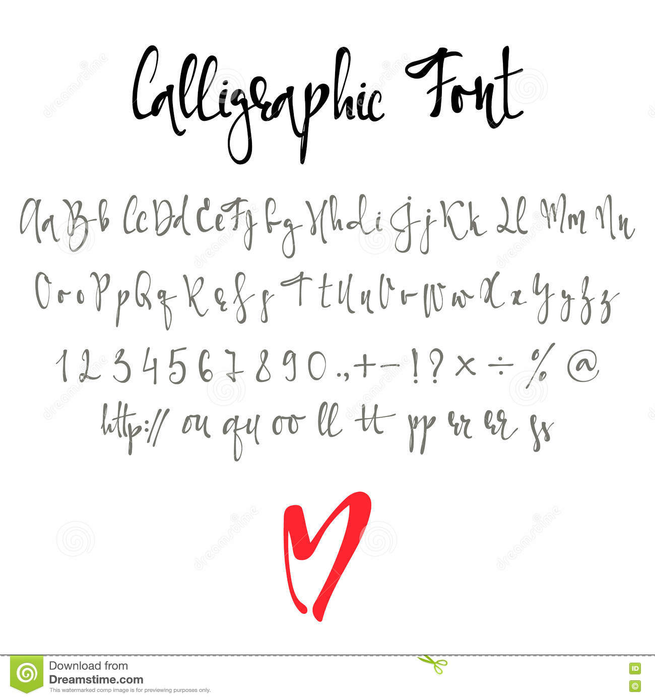Calligraphy Fonts W Calligraphic Font With Numbers Ampersand And Symbols Stock