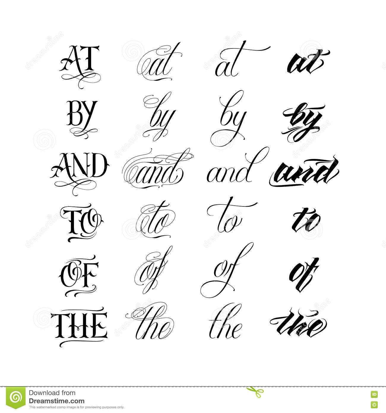 Calligraphy Tattoo Picture Calligraphic Tattoo Lettering Set Stock Vector Illustration Of