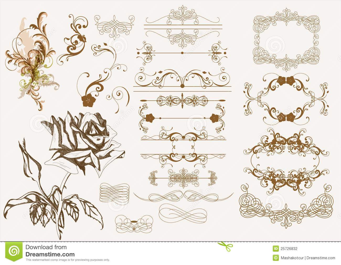 Vintage Design Calligraphic Vintage Design Elements Stock Photography