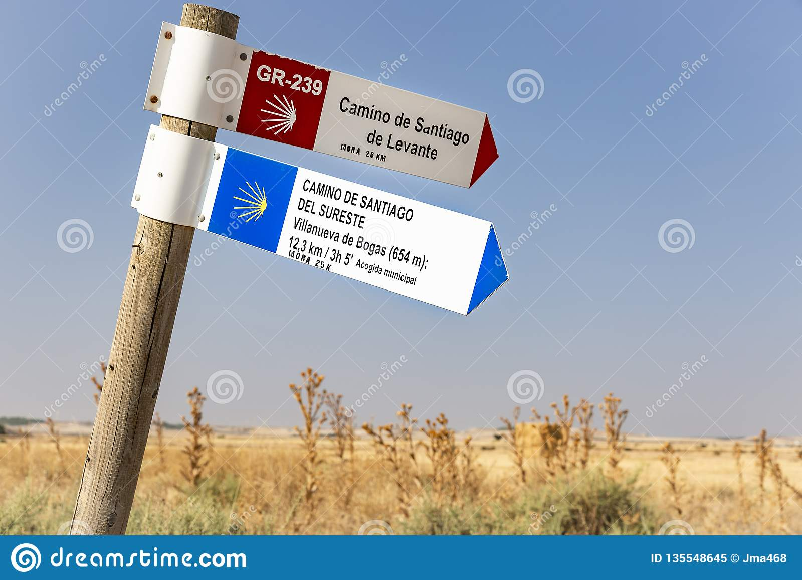 Camino Gas Natural Camino De Santiago De Levante And Del Sureste Signpost In The