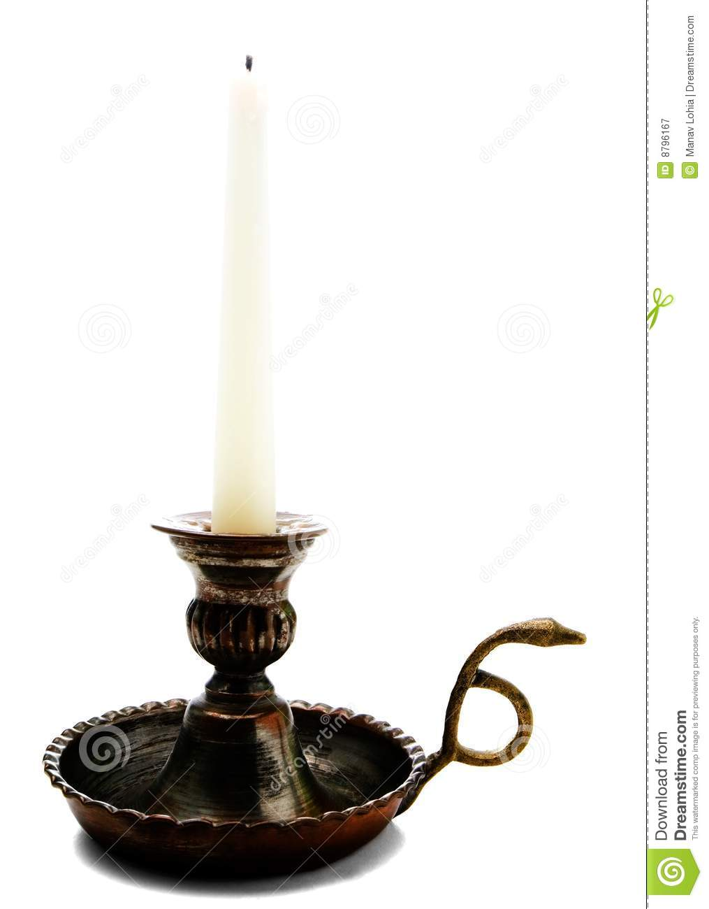 Candle On Candle Stick Holder Stock Image Image Of Still