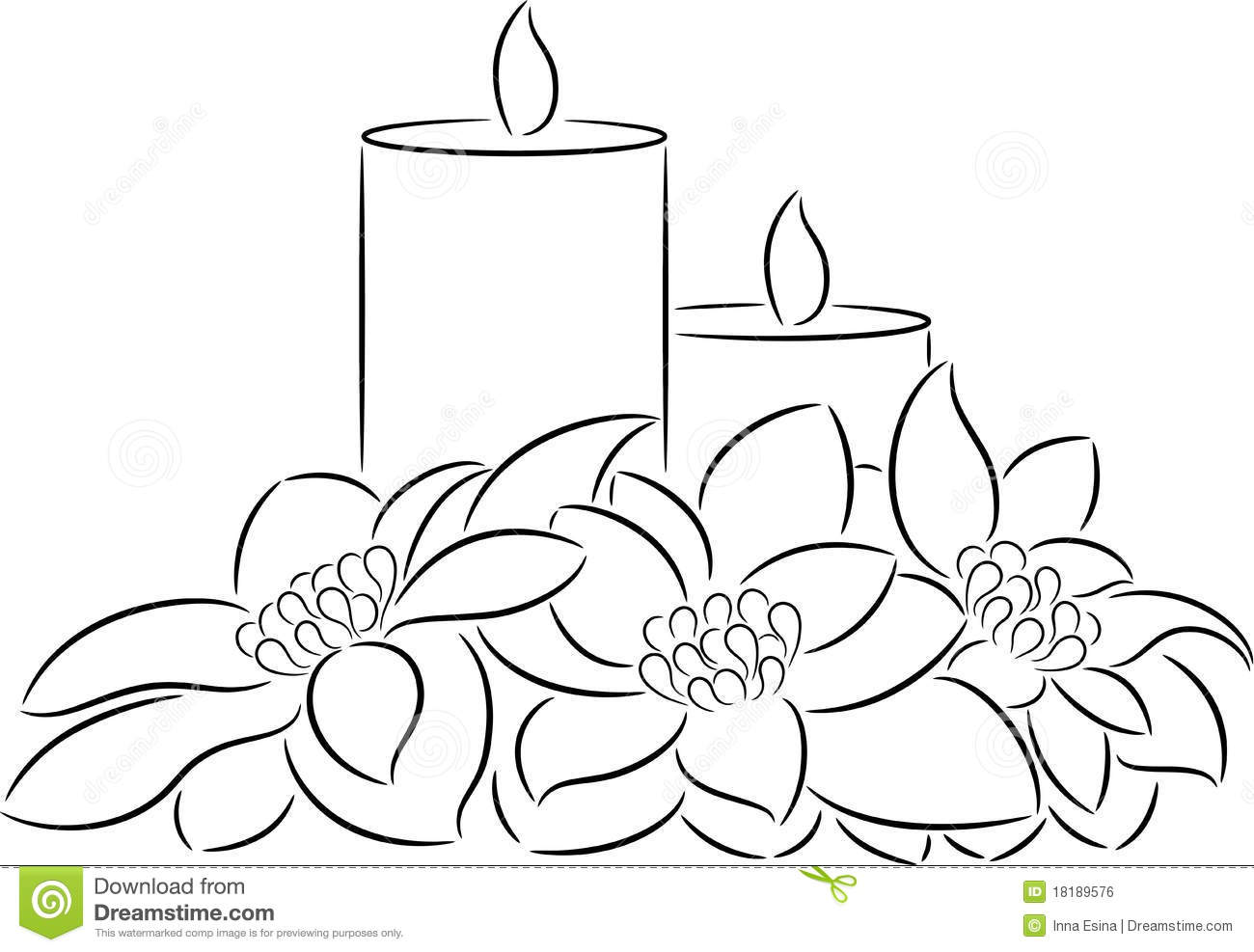 Christmas Candle Black And White Candle And Poinsettia Stock Vector Image Of Season