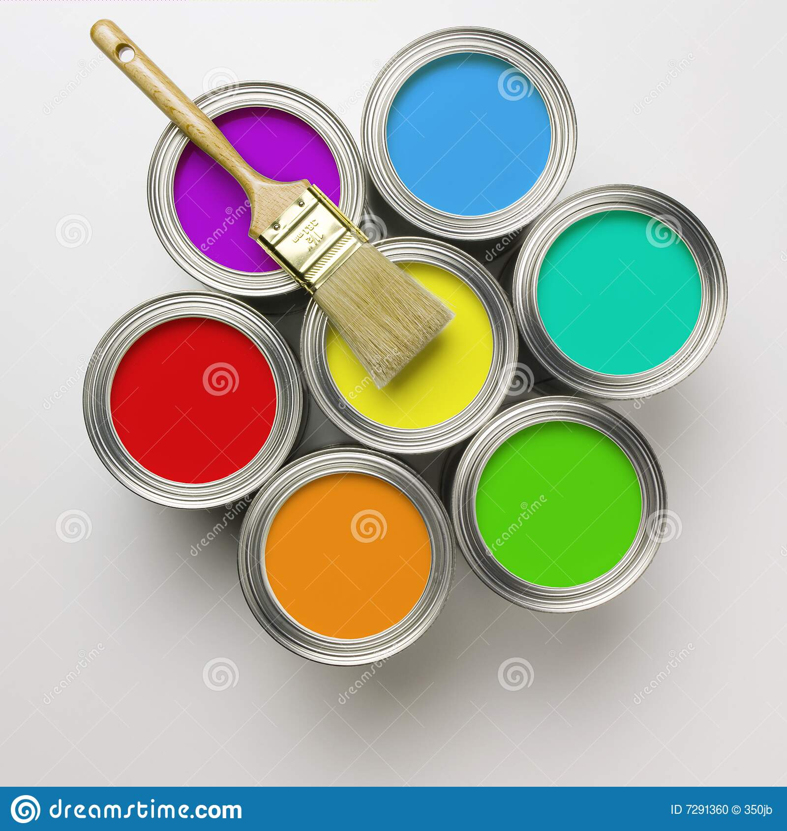 Pintura Antigravilla A Brocha Cans Of Paint With Paintbrush Stock Photo - Image Of House