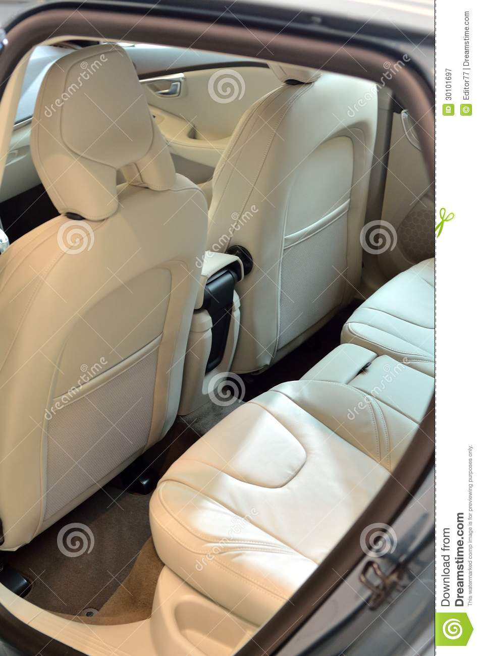 Car Seat Headrest White Leather Seats Inside Car Stock Image - Image: 30101697