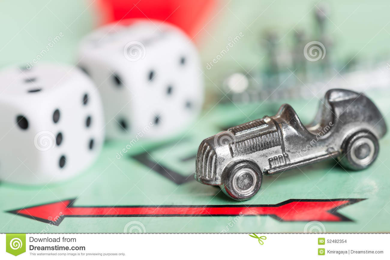 Monopoly Game Vector Car Token On A Monopoly Game Board Editorial Stock Image