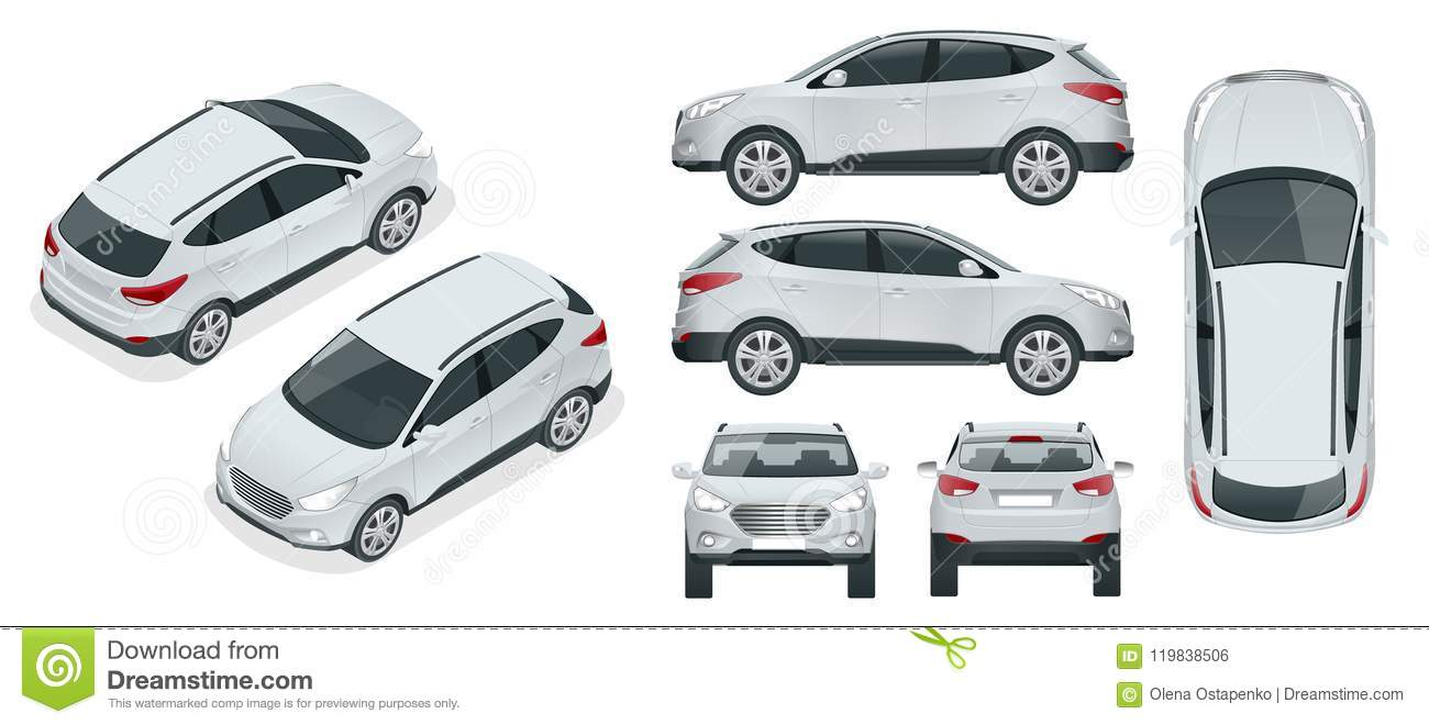 Cuv Car Car Vector Template On White Background Compact Crossover Cuv 5