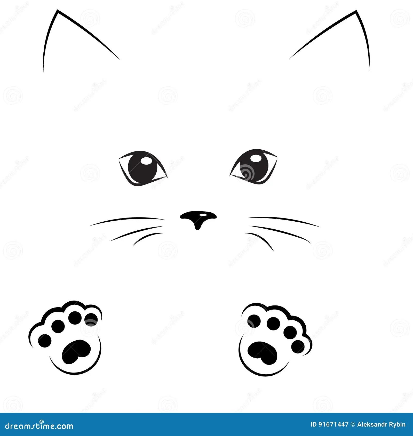 Cute Baby Tiger Wallpaper Cara Negra Del Gato Del Dibujo De Esquema Con Las Patas