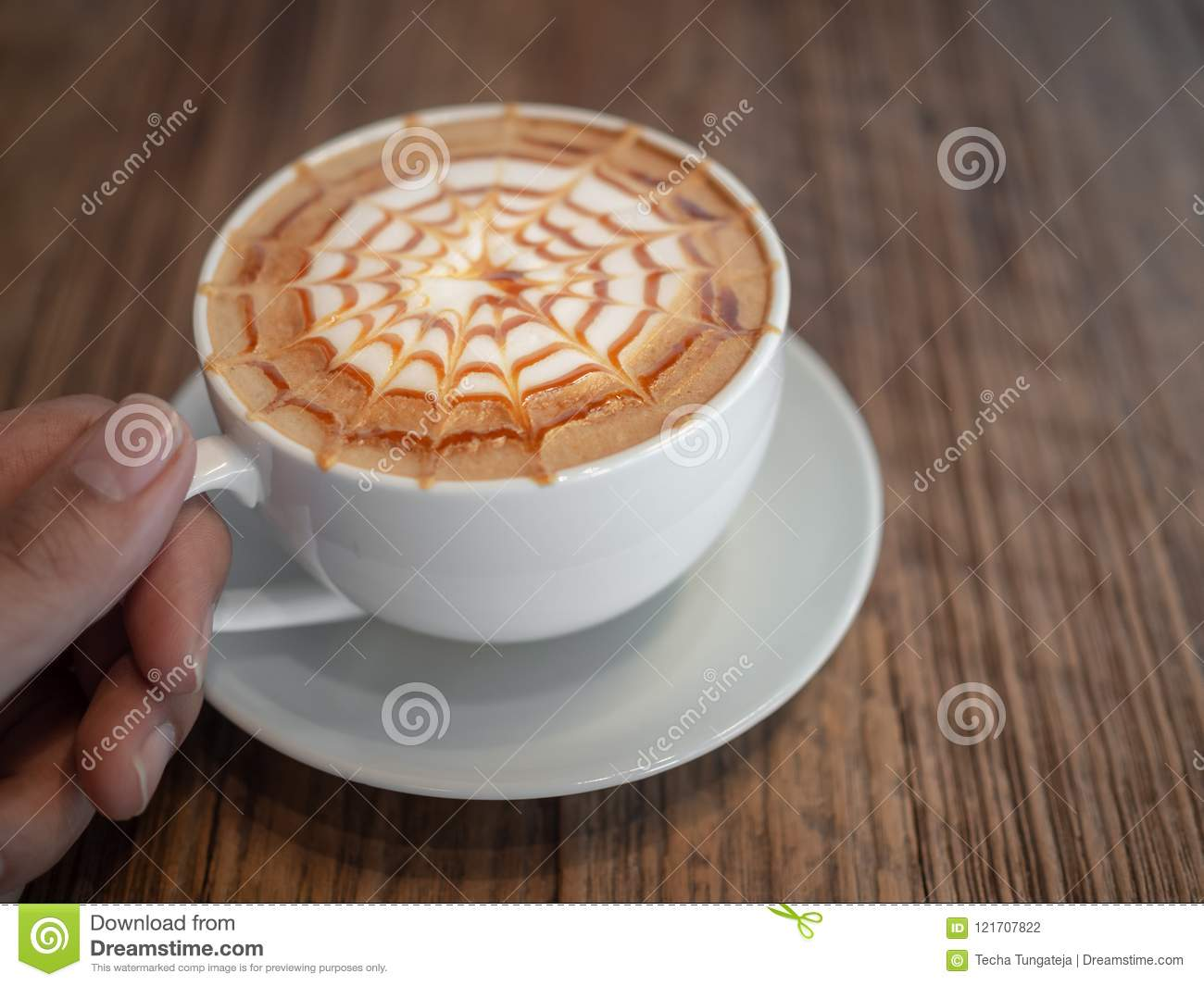 Macchiato Caramel Caramel Macchiato Stock Photo Image Of Breakfast Happy 121707822
