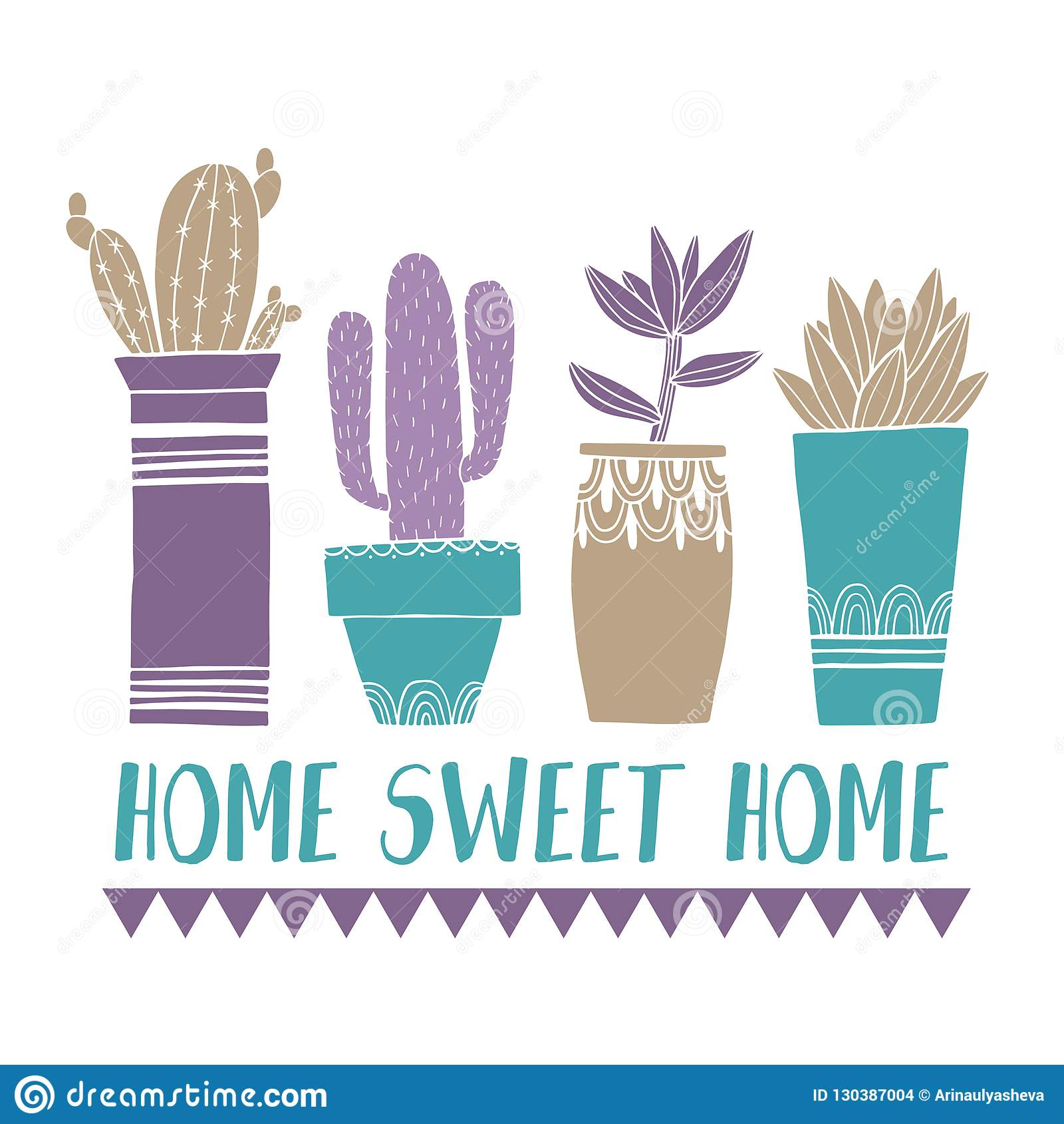Home Decoration Collection Card Cactus Pot And Succulent In Sketch Style Flat Drawing