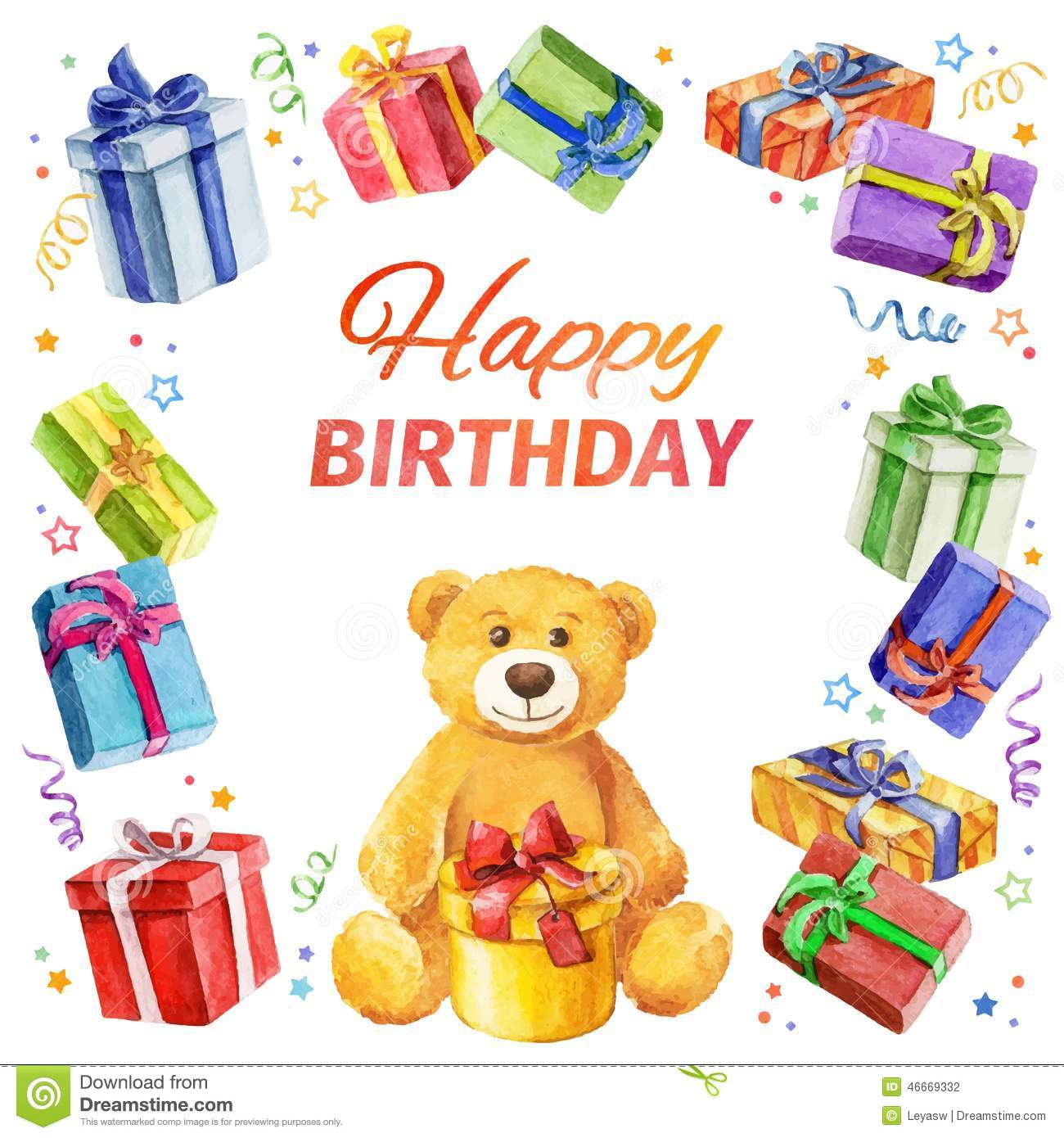 Carte Cadeau Wish Card Happy Birthday Square Frame Of Gifts And Teddy Bear