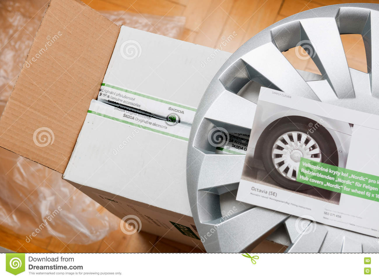 Garage Auto Paris Cardboard With New Car Hub Covers Editorial Stock Image Image Of