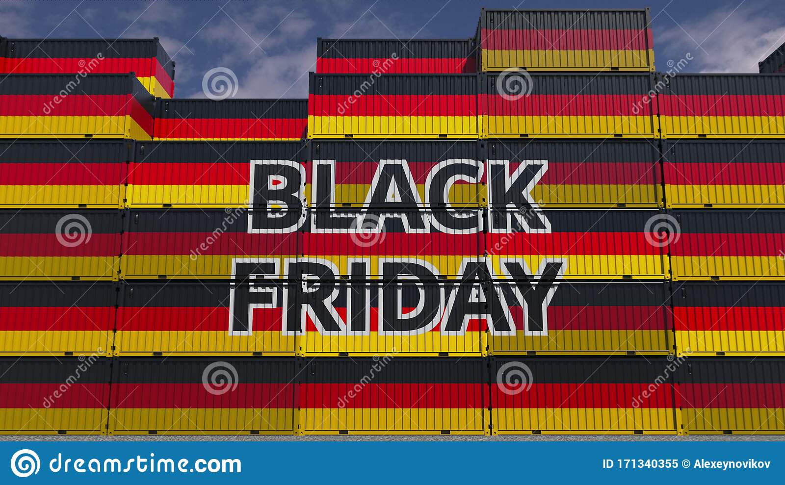 Cargo Containers With Black Friday Text And National Flags Of Germany German Commerce Related 3d Rendering Stock Illustration Illustration Of Sale National 171340355