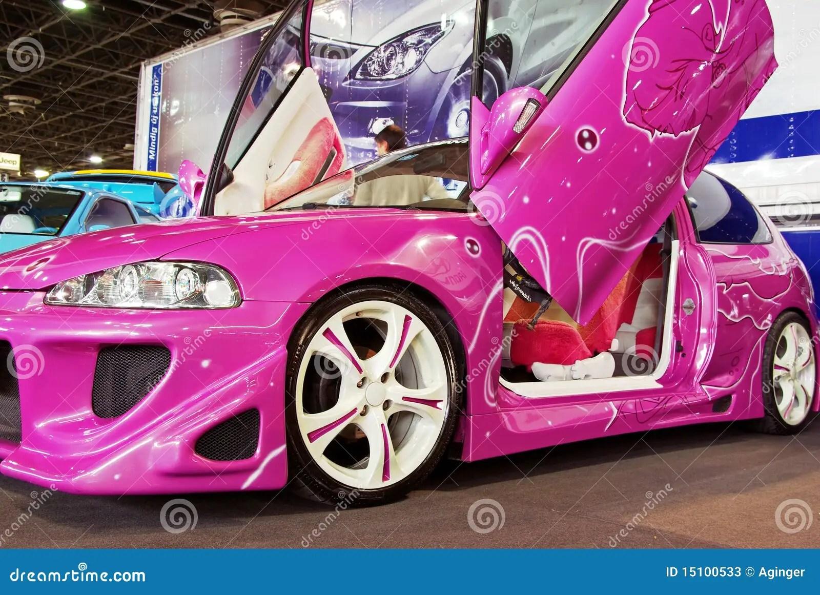 Fast And Furious 3 Cars Wallpapers Carro Ajustado Cor De Rosa Foto De Stock Editorial Imagem