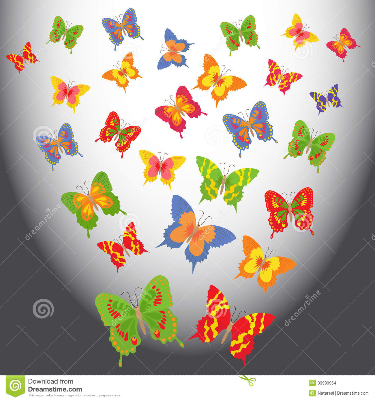 Flying Butterfly Animated Cartoon Butterflies In A Light Space Stock Vector Image
