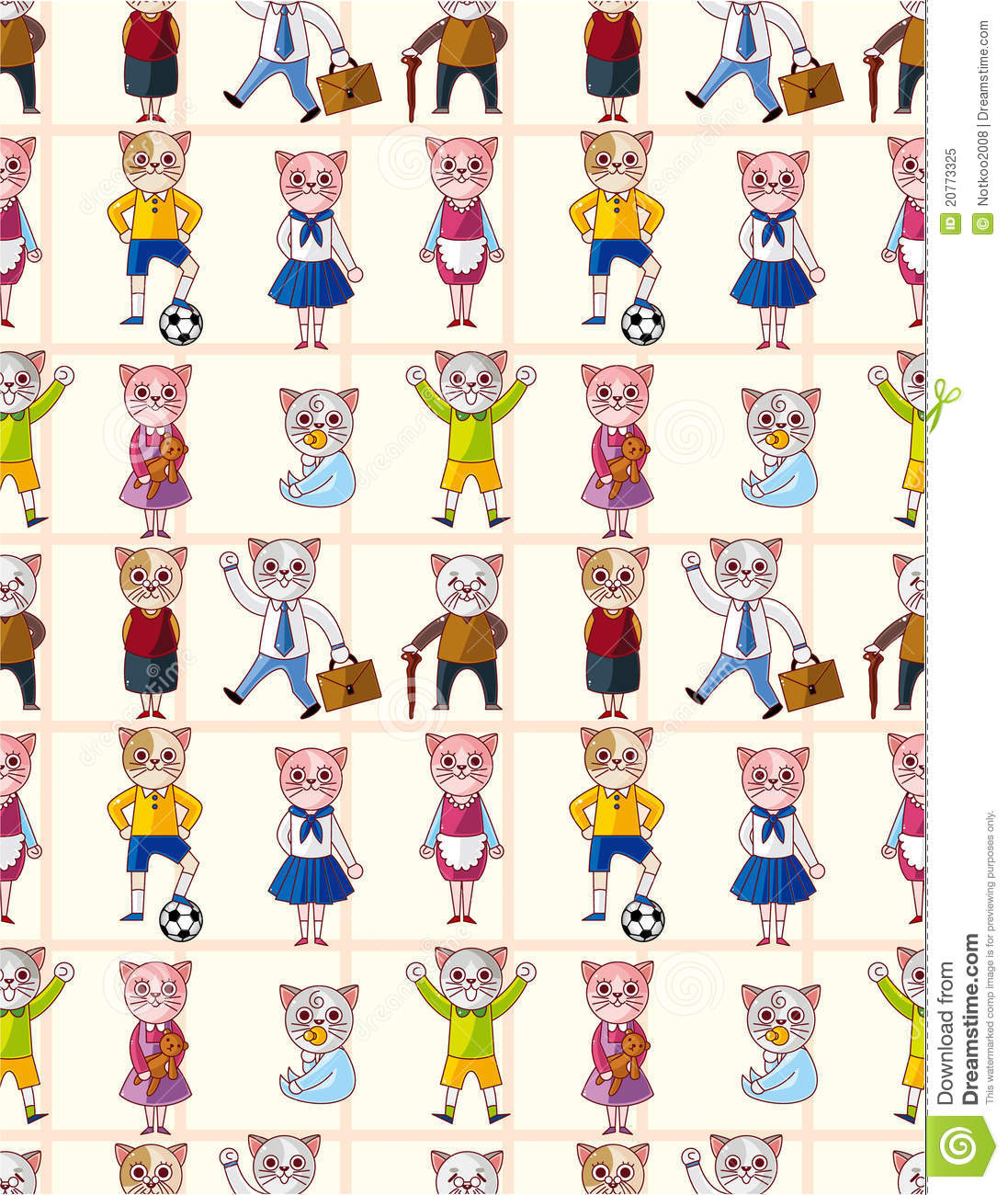 Cute Baby And Mother Wallpaper Cartoon Cat Family Seamless Pattern Stock Vector Image