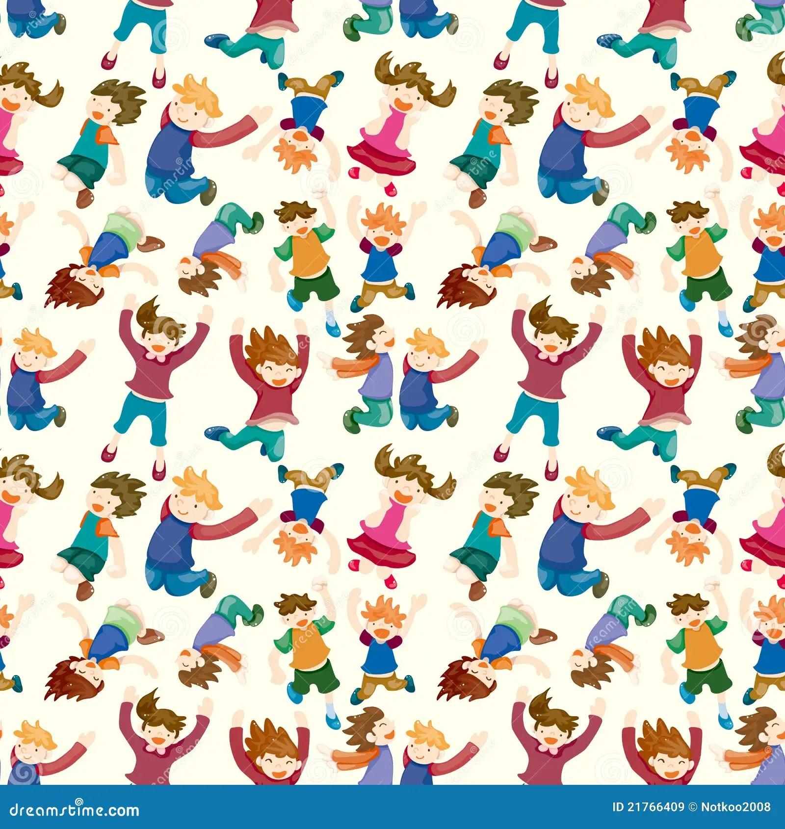 Cute Girl Cartoon Wallpaper Free Download Cartoon Child Jump Seamless Pattern Royalty Free Stock