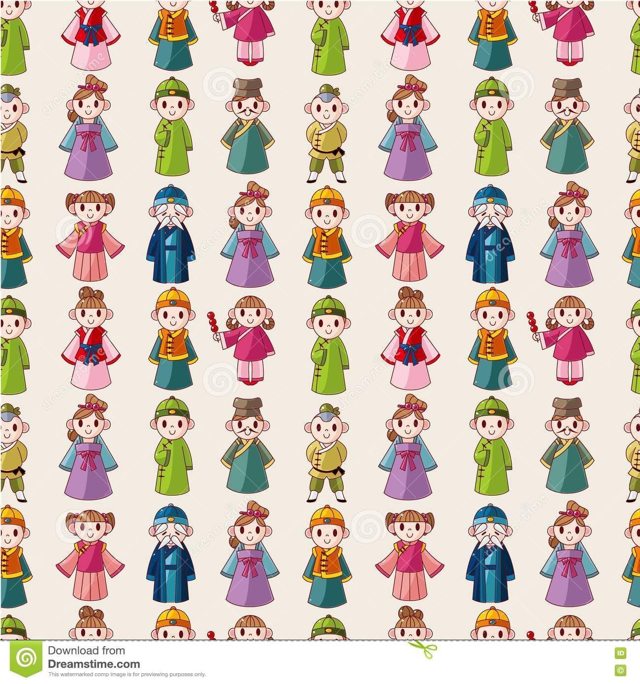 Beautiful Wedding Girl Wallpaper Cartoon Chinese People Seamlese Pattern Stock Vector
