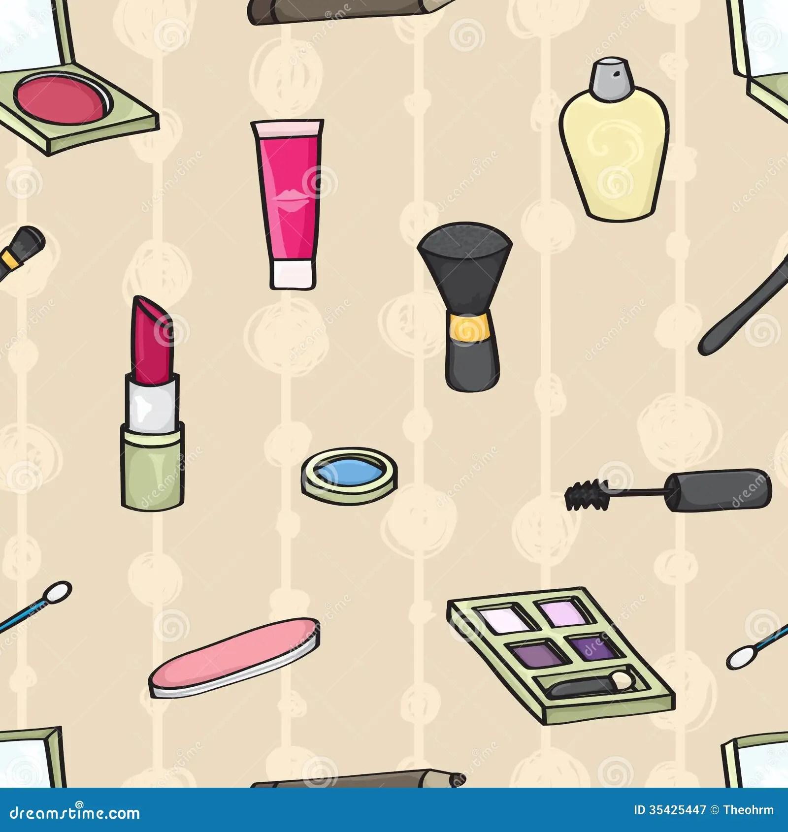 Cute Nail Arts Wallpaper Cartoon Cosmetics Seamless Background Royalty Free Stock