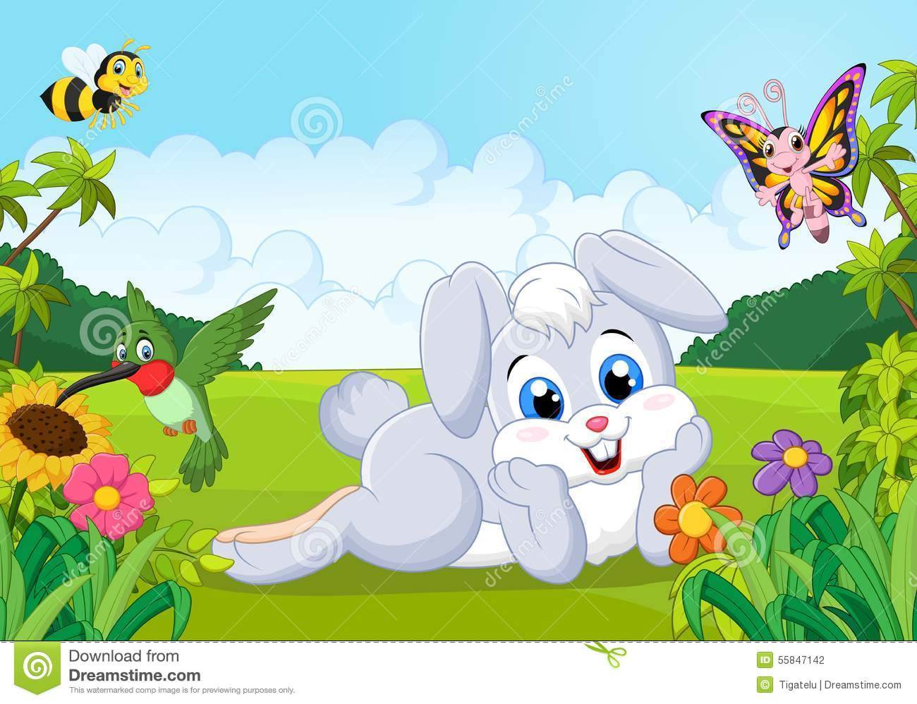 Jungle Animal Wallpaper Cartoon Cute Bunny In The Jungle Stock Vector Image