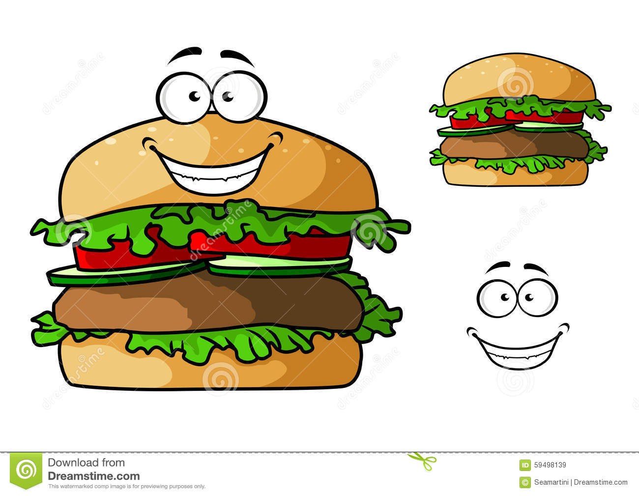 Cartoon fast food hamburger character stock vector image