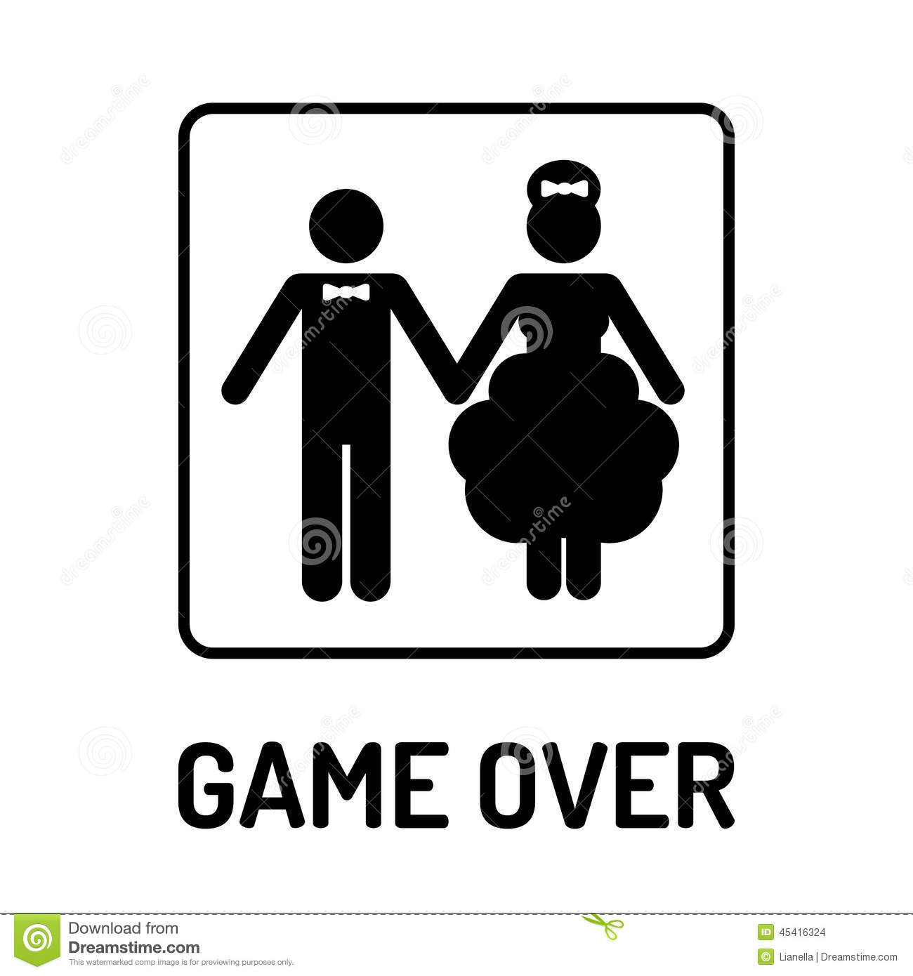 Married Couple Wallpaper With Quotes Cartoon Funny Wedding Symbol Game Over Stock Vector