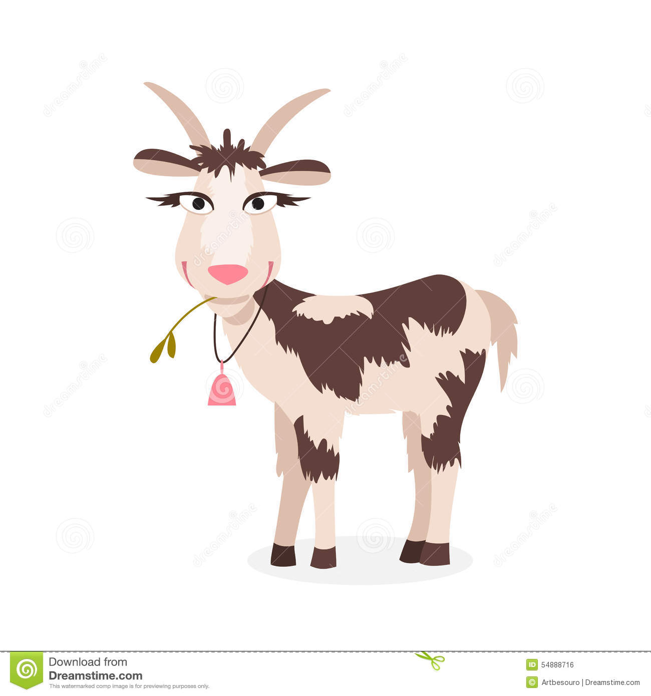 Cute Goat Clipart Cartoon Goat Vector Illustration Stock Vector