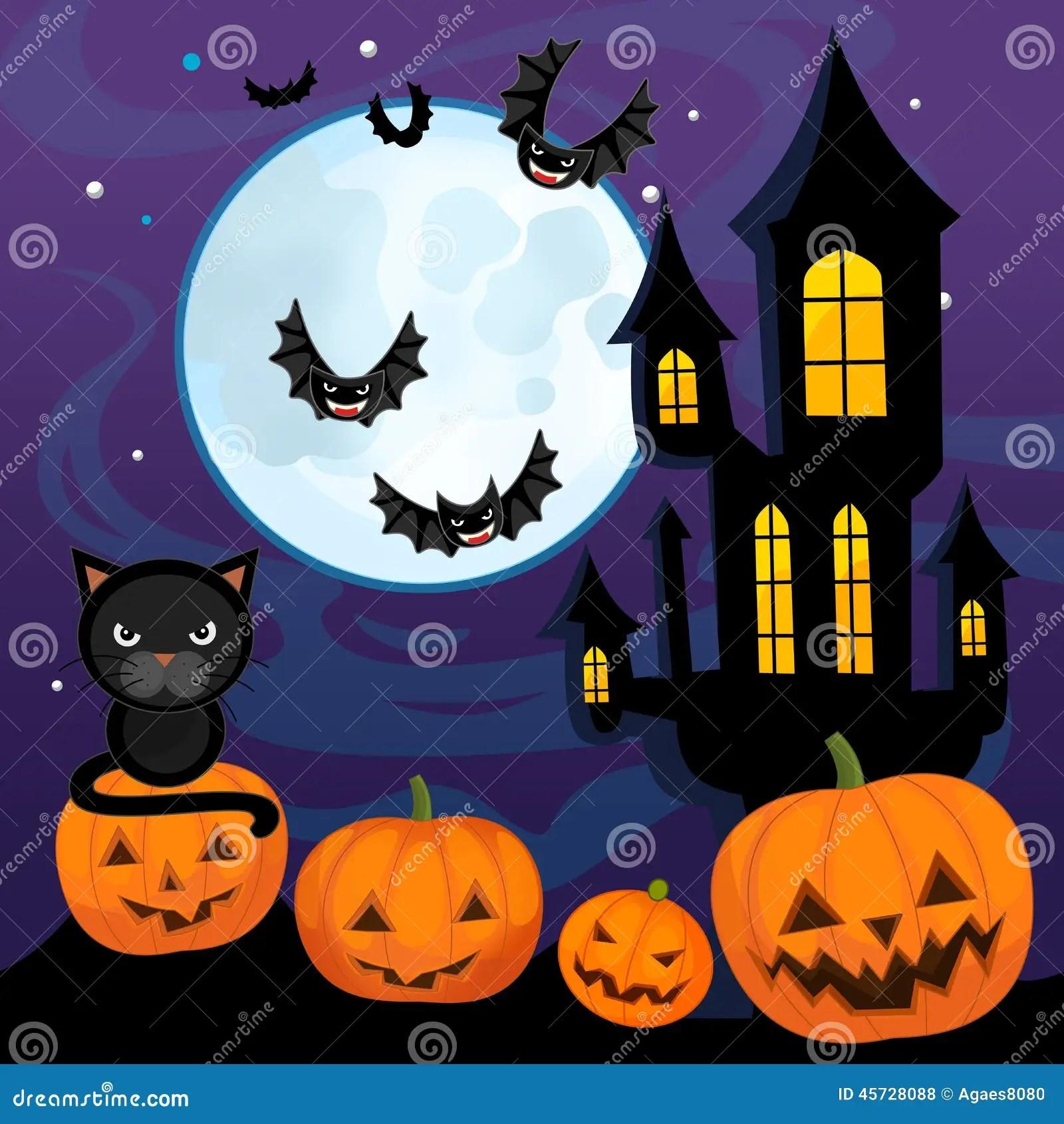 Fall Scenes Wallpaper With Pumpkins Cartoon Halloween Scene Pumpkins By Night Stock