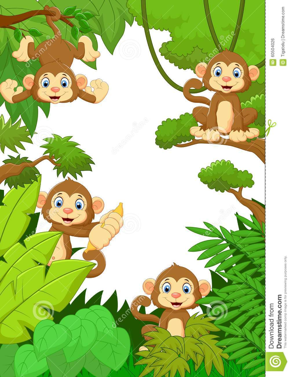 Cute Ape Wallpaper Cartoon Happy Monkey In The Forest Stock Vector