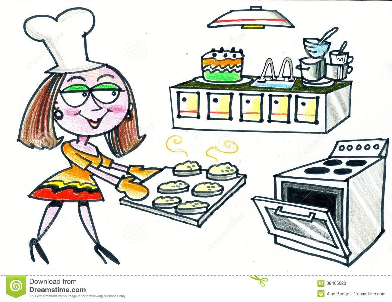 Bilder Cartoon Küche Cartoon Of Happy Woman Baking Scones In Kitchen Stock