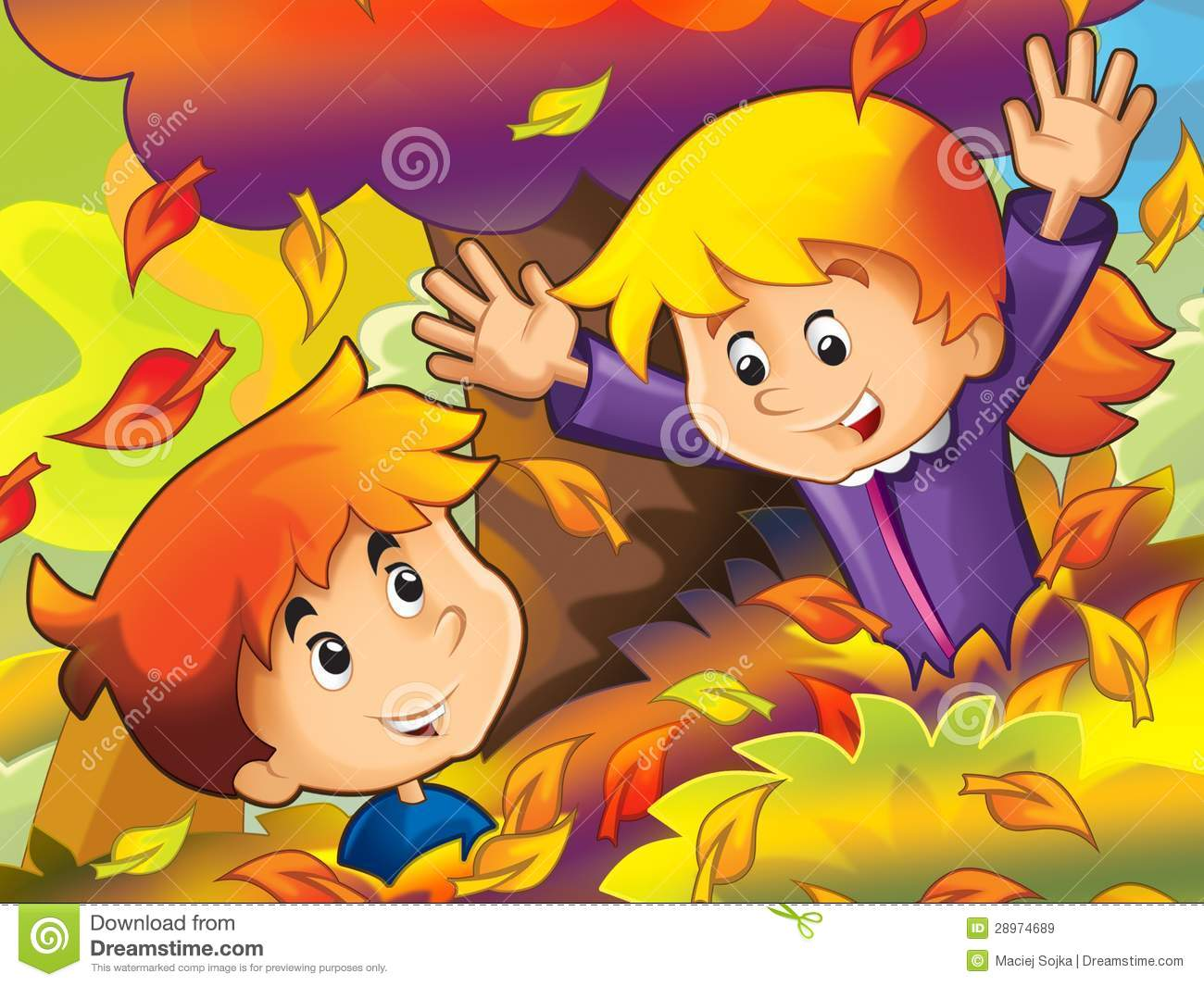 Falling Leaves Wallpaper Free Download Cartoon Kids Playing In Park Autumn Stock Illustration