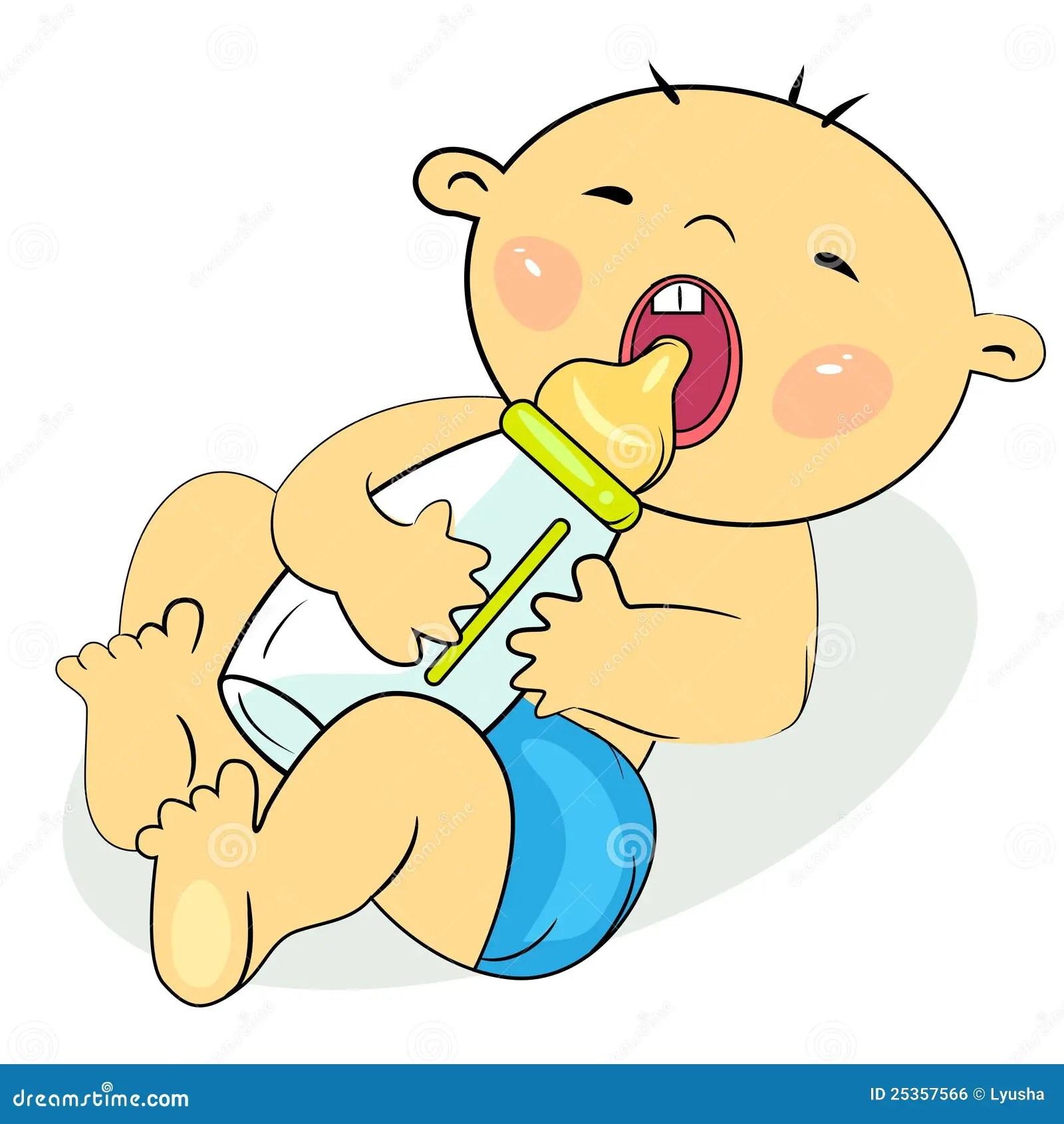 Girl Playing In Water Wallpaper Cartoon Little Baby Eating Milk Stock Vector
