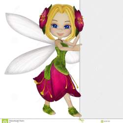 Cartoon Little Fairy With a Blank Sign Stock Illustration