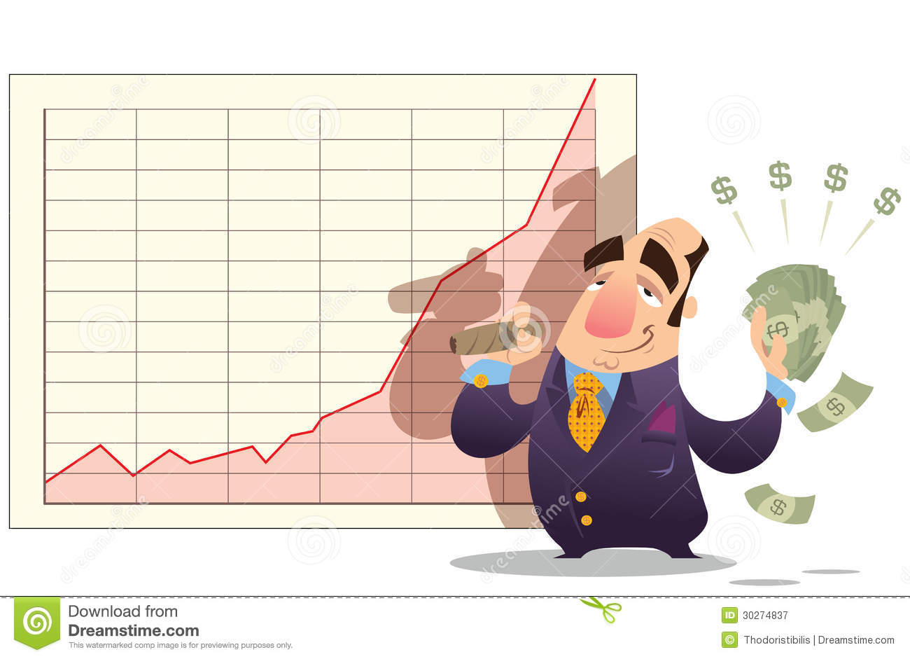 Stock Markets Up Man Winning Money As Stock Market Goes Up Royalty Free