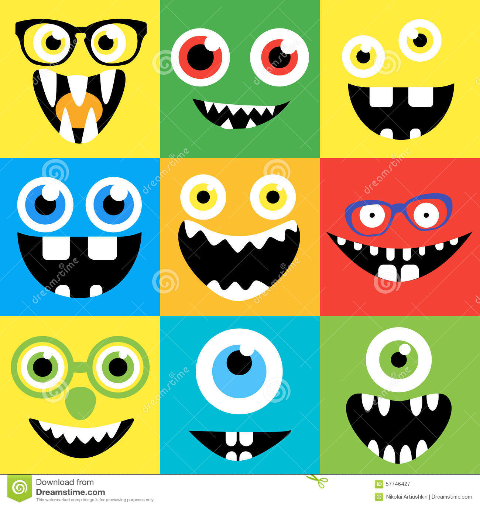 Colorful Animal Print Wallpaper Cartoon Monster Faces Vector Set Cute Square Stock Vector