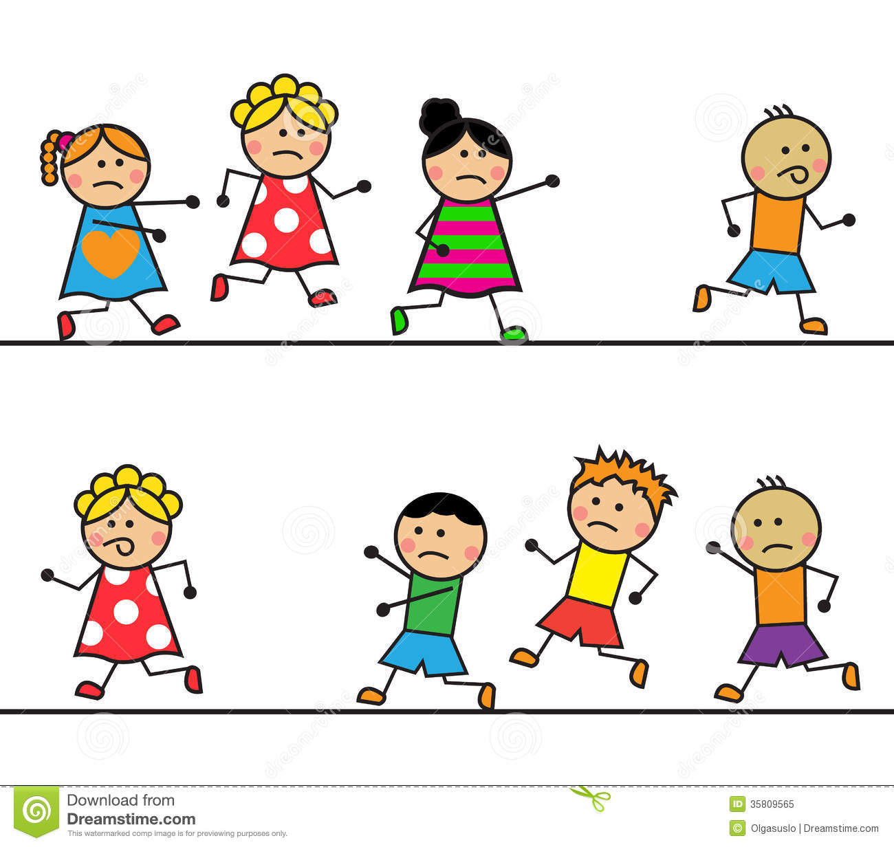 Fear Game Wallpaper Little Girl Cartoon People Run And Catch Up With Each Other Stock
