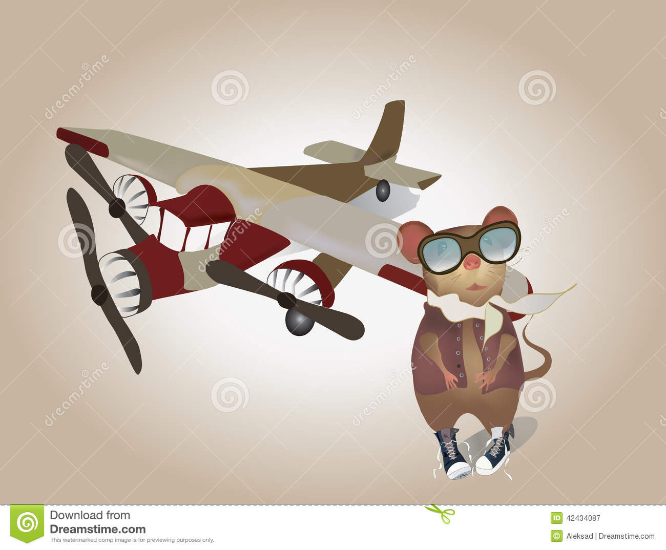 Aeroplane Fly Cartoon Pilot Mouse In Uniform With Plane Stock Vector